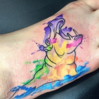 Water colored crying hippo tattoo on foot
