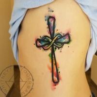 Watercolor cross in side