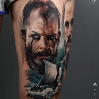 Aquarelle portrait de tatouage de Viking de Floki