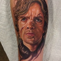 Watercolor portrait of Tyrion tattoo