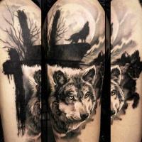 Tatuaggio di lupo selvaggio scuro per uomini di Uncl Paul Knows