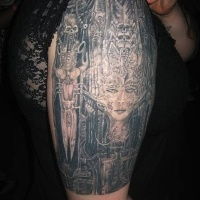 Wonderful black wired biomechanical tattoo with skeleton and girl on arm