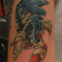 Zombie sonic hedgehog tattoo for men on upper arm