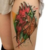 tatuaggio astratto gallo colorato per ragazze