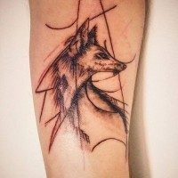 Abstract style black ink unusual forearm tattoo of fox pattern