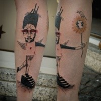 Abstract style colored arm tattoo of funny man