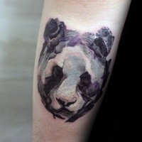 Abstract style colored arm tattoo of panda bear head