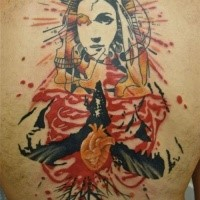 Abstract style colored back tattoo of human skull with religious woman