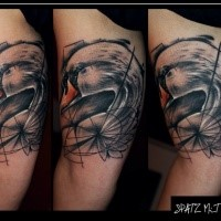 Abstract style colored biceps tattoo of big swan