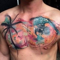 Abstract style colored chest tattoo of palm tree with parrot