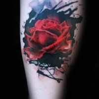 Abstract style colored forearm tattoo of red rose