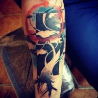 Abstract style colored forearm tattoo of tree with ornaments