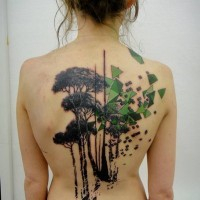 Abstract style colored forest with geometric figures tattoo on whole back