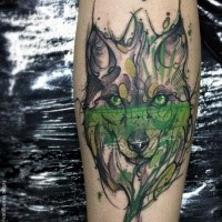 Abstract style colored leg tattoo of cool wolf with poison water