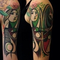 Abstract style colored shoulder tattoo of woman face with ornaments