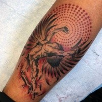 Abstract style colored tattoo of Icarus with ornamental sun