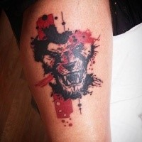 Abstract style colored tattoo of roaring lion head