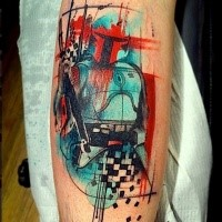 Abstract style colored tattoo of Star Wars soldier