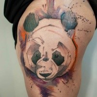 Abstract style colored thigh tattoo of panda bear