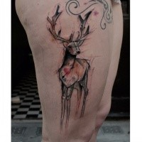 Abstract style colored thigh tattoo of deer with red heart