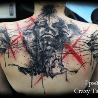 Abstract style colored upper back tattoo of human faces with tree