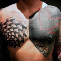 Abstract style large colored chest tattoo of various geometric figures