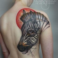 Abstract style massive colored sad zebra tattoo on shoulder