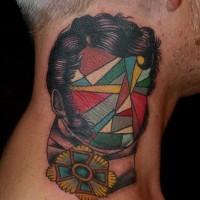 astratto stile multicolore ritratto geometrico tatuaggio su nuca