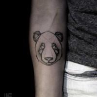 Abstract style tiny black ink forearm tattoo of panda bear head