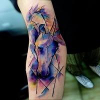Abstrakter Stil Aquarell kleines Unterarm Tattoo mit Einhornskopf