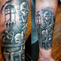 Accurate black ink pirate skeleton tattoo on arm