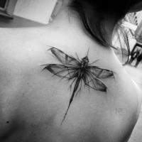 Accurate designed black ink upper back tattoo of big dragonfly by Inez Janiak