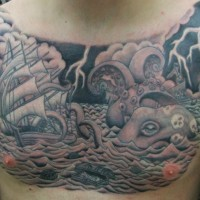 Accurate designed colored massive nautical tattoo on chest with sailing ship and octopus