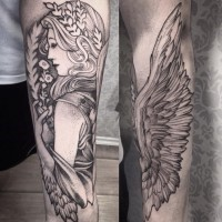 Accurate looking black ink forearm tattoo of angel woman with flowers and leaves