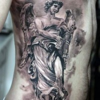 Accurate looking colored 3D side tattoo of big angel