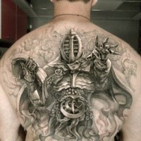 Accurate looking detailed whole back tattoo of fantasy mystical warrior