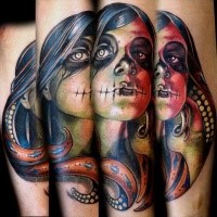 Accurate painted and colored arm tattoo of zombie girl with octopus
