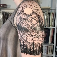 Accurate painted black ink shoulder tattoo of mountain river with sun and forest
