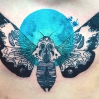 Accurate painted by Joanna Swirska tattoo of large butterfly and blue moon