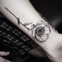 Accurate painted by Zihwa black outline tattoo of flower