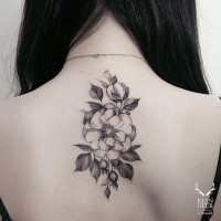 Accurate painted by Zihwa upper back tattoo of large flower