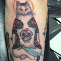 Accurate painted colored arm tattoo of Manmon cat with human skull