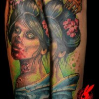 Accurate painted colored zombie Asian woman portrait tattoo on forearm