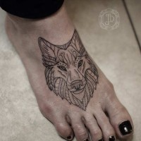 Accurate painted little black ink fantasy wolf tattoo on foot