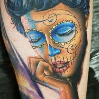 Adorable black hair santa muerte girl tattoo