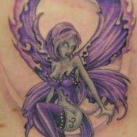 Adorable fairy tattoo in lilac color