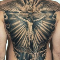 Adorable jesus crucified on a cross tattoo on back