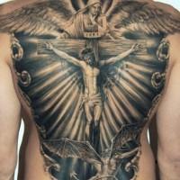 Tatuaje En La Espalda Jesús En La Cruz Y ángel Tattooimagesbiz
