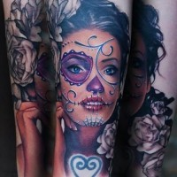 Adorable santa muerte girl with dark roses forearm tattoo