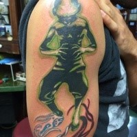 Alien like colored shoulder tattoo of creepy monster
